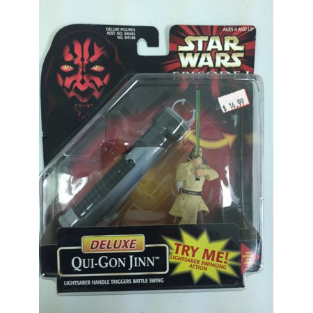Hasbro Star Wars Episode I Deluxe Qui Gon Jinn w/swing action Action Figure New - Qui Gon Jin Lightsaber