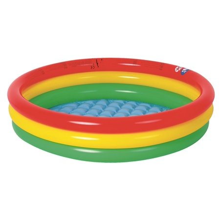 59 Red Yellow And Green Ringed Round Inflatable Baby Swimming Pool