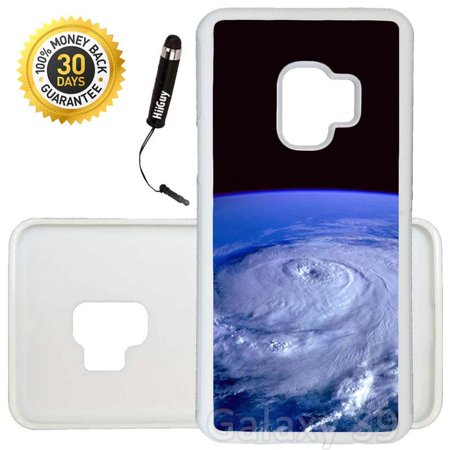 Custom Galaxy S9 Case (Hurricane View From Space) Edge-to-Edge Rubber White Cover Ultra Slim | Lightweight | Includes Stylus Pen by Innosub