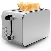 Stainless Steel Toaster 2 Slice,Household Automatic Breakfast Machine,7 Browning Setting with Defrost/Reheat/Cancel Function, Easy Clean Slide Out Crumb Tray