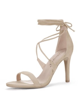 fd1470321915a3 Product Image Unique Bargains Women s Stiletto High Heel Lace-Up Sandals  Beige (Size ...