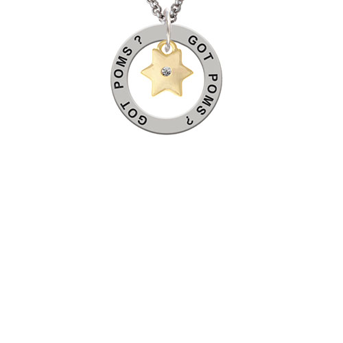 Gold Tone Hexagram Star Got Poms? Affirmation Ring Necklace