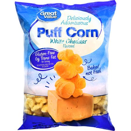 (4 Pack) Great Value White Cheddar Puff Corn, 5 oz (Cigar Puff)