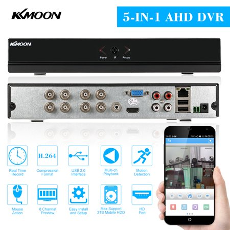 KKmoon 8CH 1080P Hybrid NVR AHD TVI CVI DVR 5-in-1 Digital Video Recorder P2P Cloud Network Onvif Digital Video Recorder support Plug and Play Phone APP Free CMS Browser View Motion Detection PTZ (Required Plugin Not Supported By Your Browser)