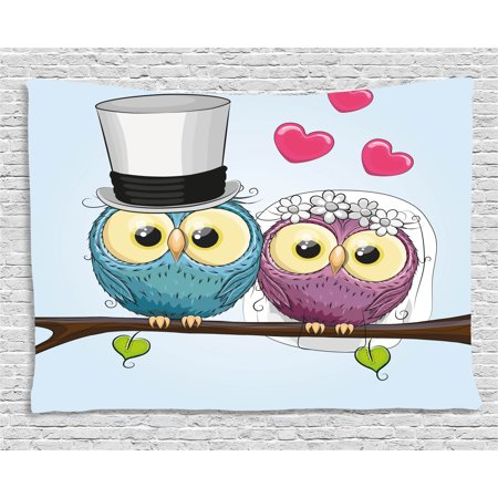 Wedding Decorations Tapestry, Two Cartoon Style Cute Funny Owls Husband Wife Bride and Groom, Wall Hanging for Bedroom Living Room Dorm Decor, 80W X 60L Inches, Purple Blue Pink, by Ambesonne