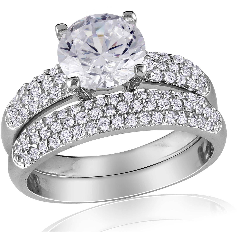 Miabella 4 3 8 Carat Cubic Zirconia Sterling Silver Bridal Set