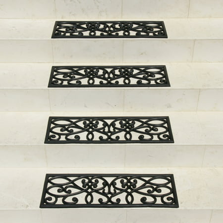 Rubber-Cal 6-Piece New Amsterdam Non-Slip Treads Rubber Step Mats, 9.75 by 29.75-Inch, Black