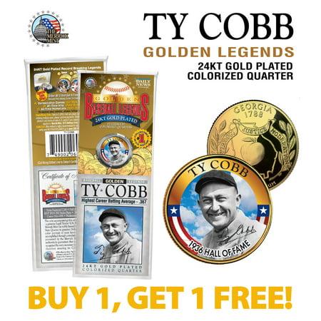 TY COBB Golden Legends 24K Gold Plated GEORGIA State Quarter U.S. Coin - (Georgia Coin Set)