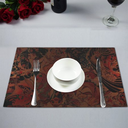 MYPOP Koi Fish Kitchen Table Mat Placemats for Dining Table 12x18 inches ()