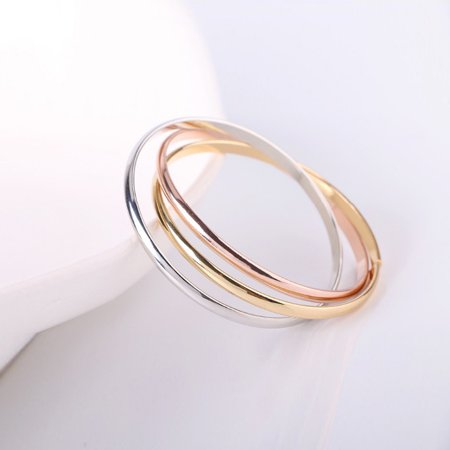Siana Tri Color Bangles In 18 Kt Rose Gold Plating Yellow Gold Plating And White Gold -