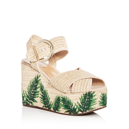 SCHUTZ Feray Raffia Natural Nude Green Floral Platform Wedge Woven Sandals