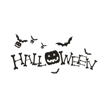 Happy Halloween Pumpkin Bone Wall Sticker Window Home Decoration Decal Decor