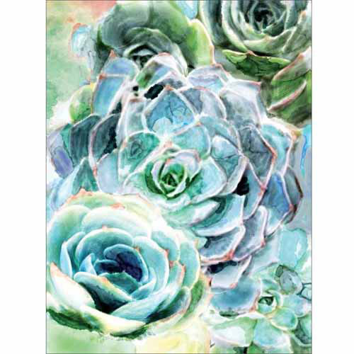 Close Up Succulent Watercolor Nature Painting Blue & Green Canvas Art by Pied Piper Creative