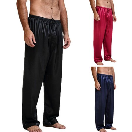 USA Mens Silk Satin Pajamas Pyjamas Lounge Pants Sleep Bottoms ()