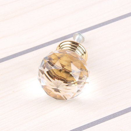 Simple Crystal Ball Door Knobs Zinc Alloy Golden Pull Handle for Cabinet Drawer Wardrobe Cupboard Kitchen Door - image 2 of 3