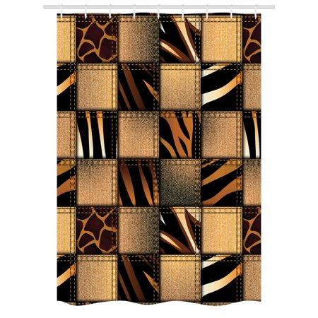 Safari Stall Shower Curtain, Jeans Denim Patchwork in Safari Style Wilderness Stylized Design Art Print, Fabric Bathroom Set with Hooks, 54W X 78L Inches, Brown and Black, by Ambesonne