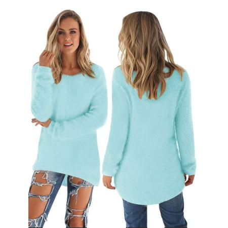 Women's Velvet Fluffy Jumper Long Sleeve Pullover Warm Sweater
