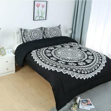 Full All-season Quilted Comforter Set Bohemian Black w 2 Pillow