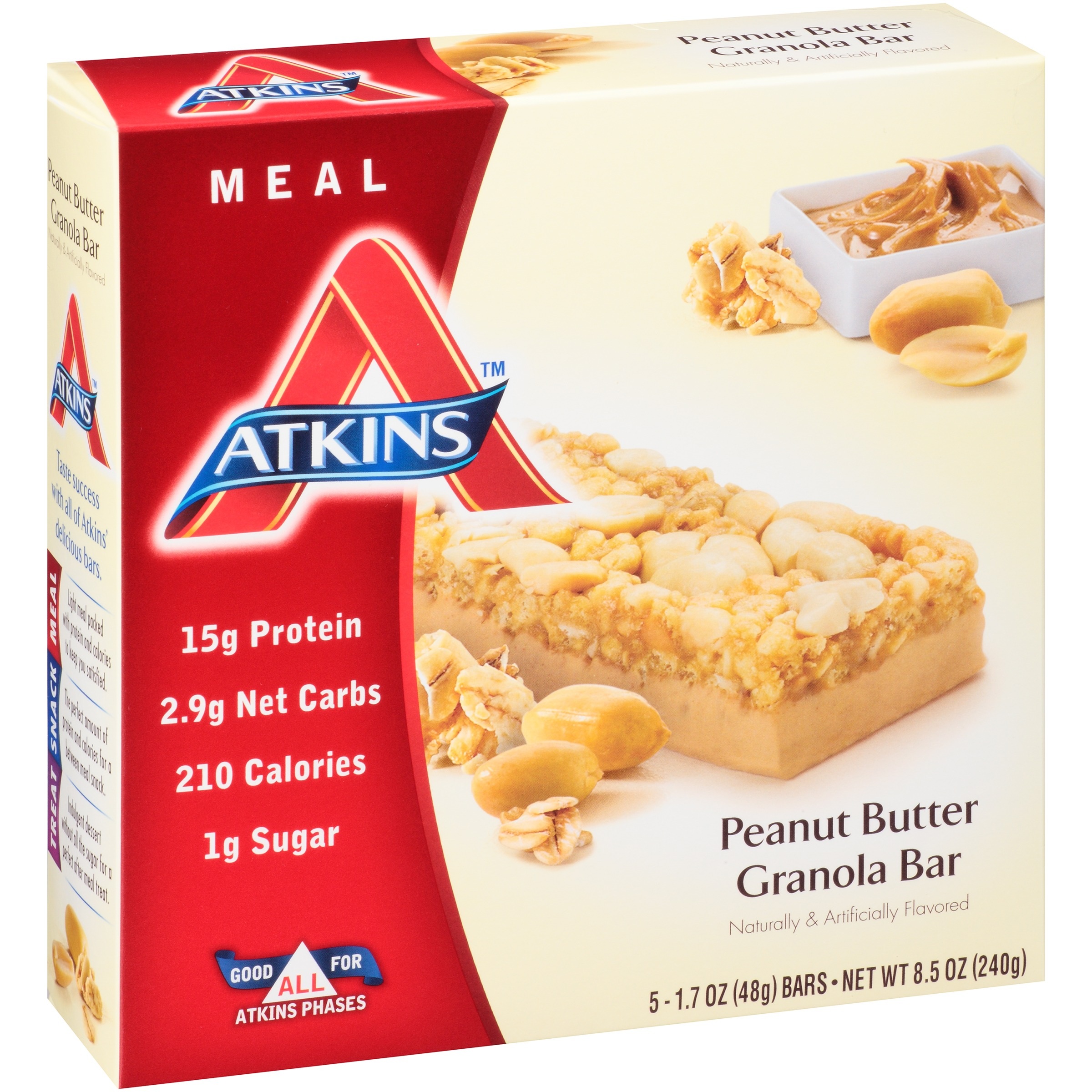 Atkins Peanut Butter Granola Bar, 1.7oz, 5-pack (Meal Replacement)