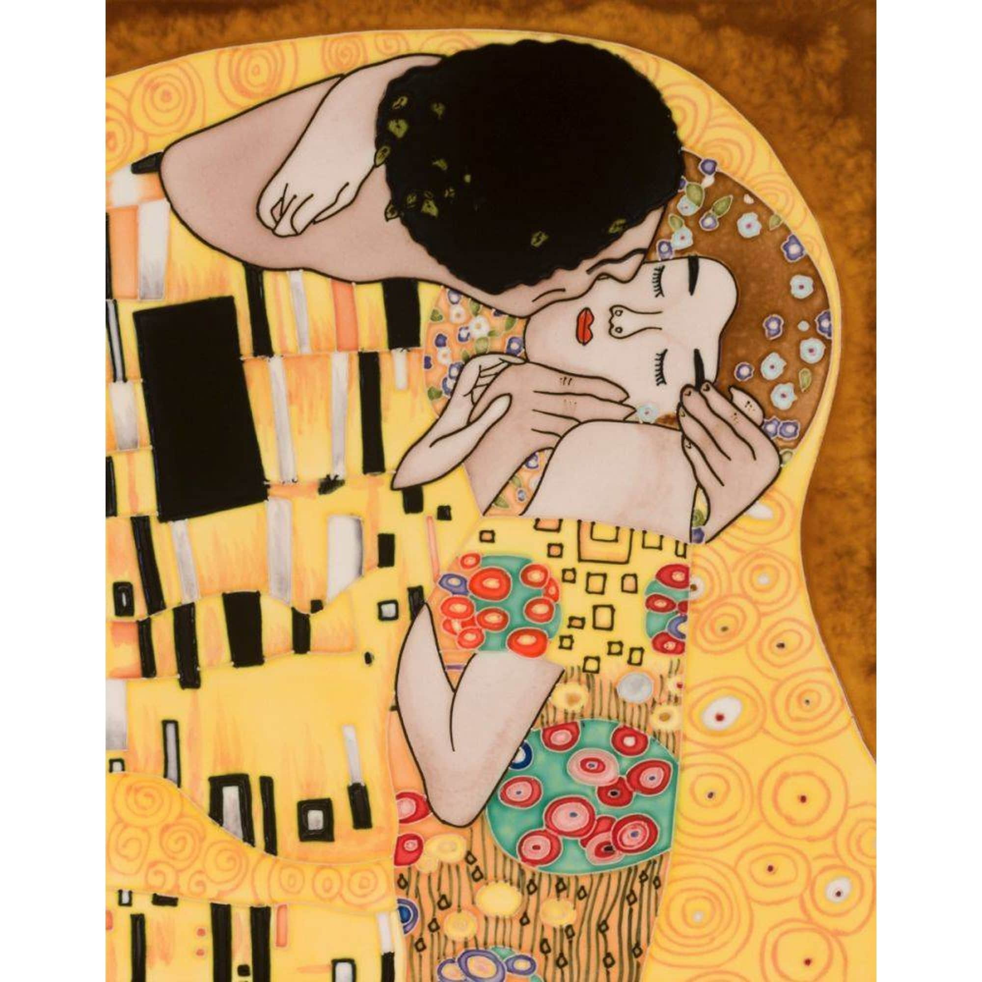 La Pastiche Gustav Klimt 'The Kiss' Hand Painted Felt Backed Wall Accent Tile