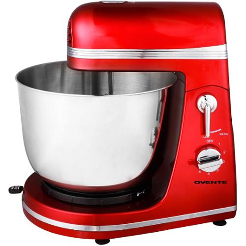 Ovente SM880R 6-speed 3.7 quart Metallic Red Professional Stand Mixer
