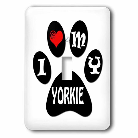 3dRose I love my Yorkie  Puppy  Paw  Cool saying  Black and white  - Single  Toggle Switch