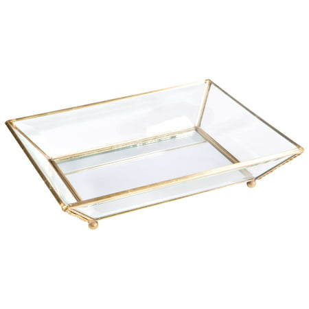 Home Details Vintage - Copper Medium Bevelled Glass Tray W. Mirrored Bottom 8.07X6.6X1.57 Inch ()