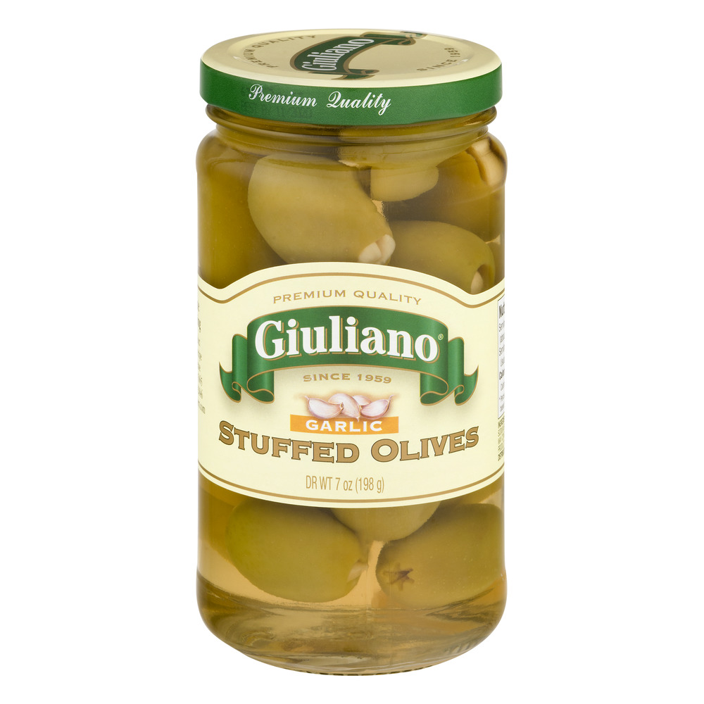 Giuliano Stuffed Olives Garlic, 7.0 OZ by Giulianos' Specialty Foods