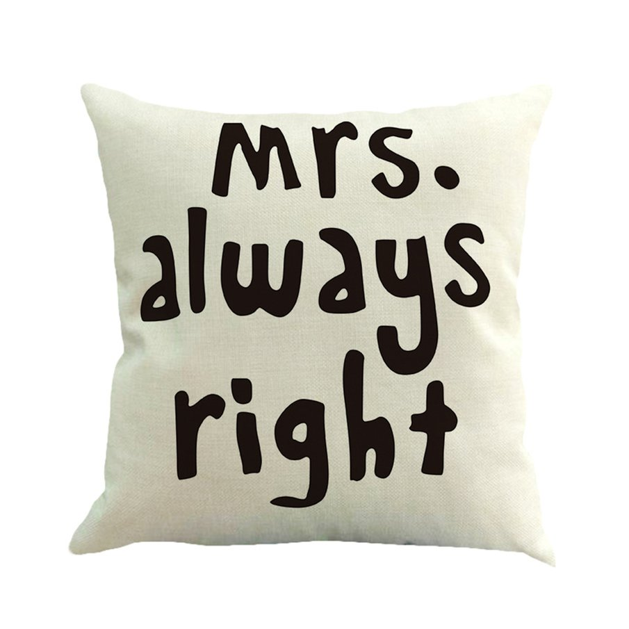 Romantic Letter Printed Linen Pillow Case Wedding Decorative Pillowcase by