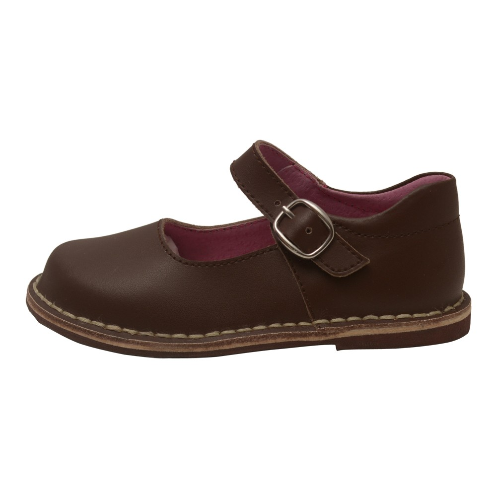 L Amour Girls Brown Classic Matte Leather Mary Jane Shoes