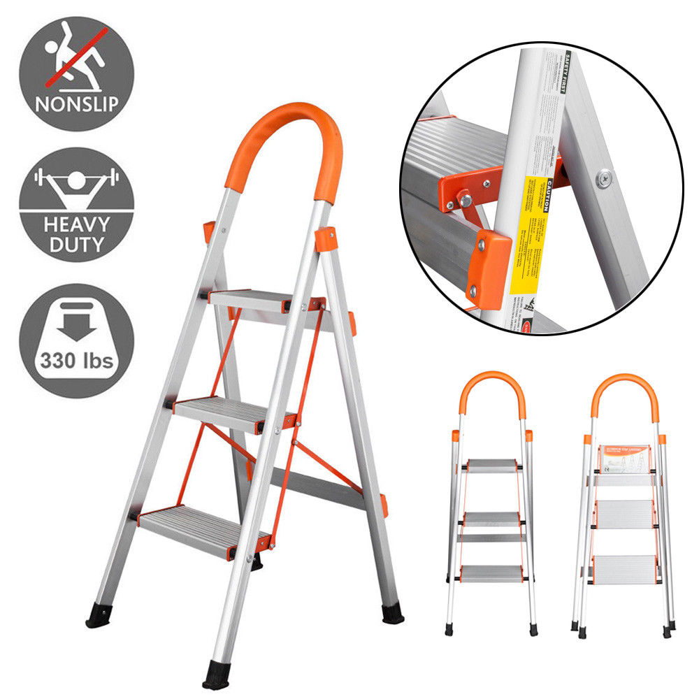 Zimtown Portable 3 Step Aluminum Ladder Non-slip Folding Platform Step Stool, for Kitchen, Office, Bathroom, and Garage, 330lbs Load Capacity, Orange
