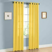 "2 PANEL MIRA  SOLID YELLOW SEMI SHEER WINDOW FAUX SILK ANTIQUE BRONZE GROMMETS CURTAIN DRAPES 55 WIDE X 84"" LENGTH"