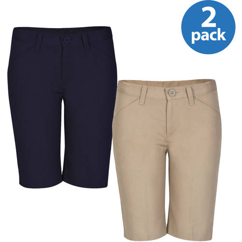 REAL SCHOOL Girls Flat Front Low Rise Shorts School Uniform Approved 2-Pack Value Bundle