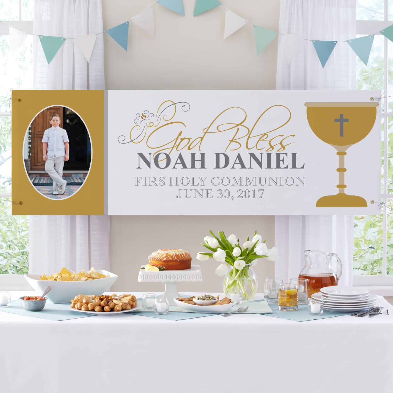 Personalized First Communion Celebration Photo Banner