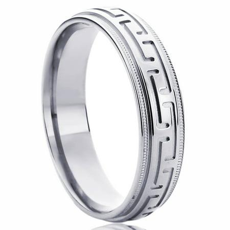 Pristine J 14K White Gold Wedding Band 5mm Domed Greek Key Comfort Fit (White Gold Greek Key)