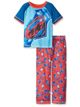 Justice League Boys' Pajamas Batman Vs Superman Lounge Pants and Long Sleeve Top Set, Black Pattern, Size: 4/5