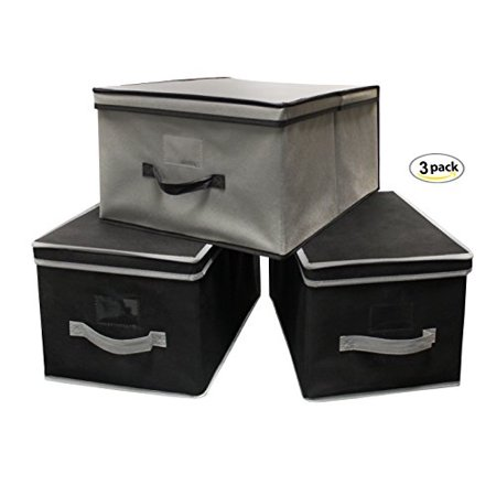 EarthWise Storage Bin Basket Box Collapsible Container Foldable Stackable Fold Flat Shelf Cabinet with Lid Cube Organizers (Set of 3) 1 Large 2