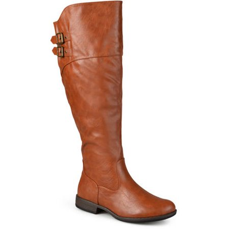 Womens Wide Calf Round Toe Buckle Detail Boots (Ladies Snow Boots Size 9 Wide)