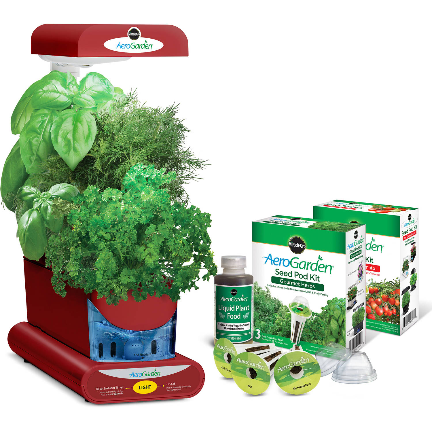 Miracle-Gro AeroGarden Sprout Red with Gourmet Herbs Seed Pod Kit and Bonus Mighty Mini Cherry Tomato Seed Pod Kit