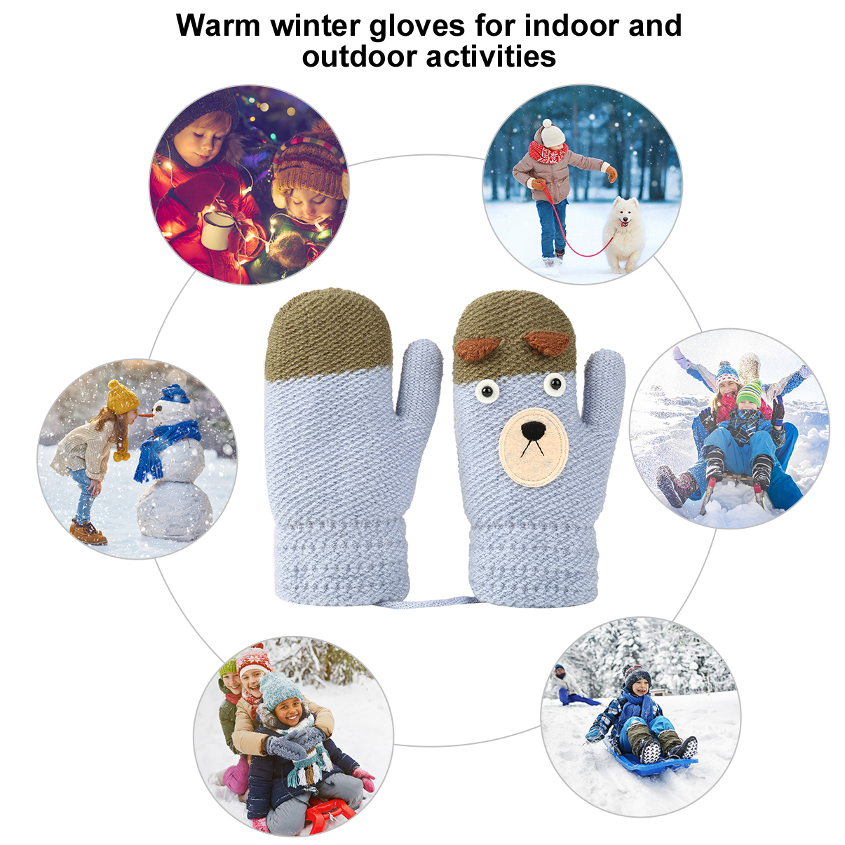 Toddler Baby Winter Cutes Thicken Christmas Full Finger Mittens Warm Gloves f