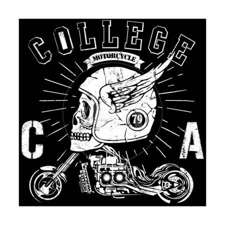 Vintage Biker Skull Emblem Print Wall Art By emeget