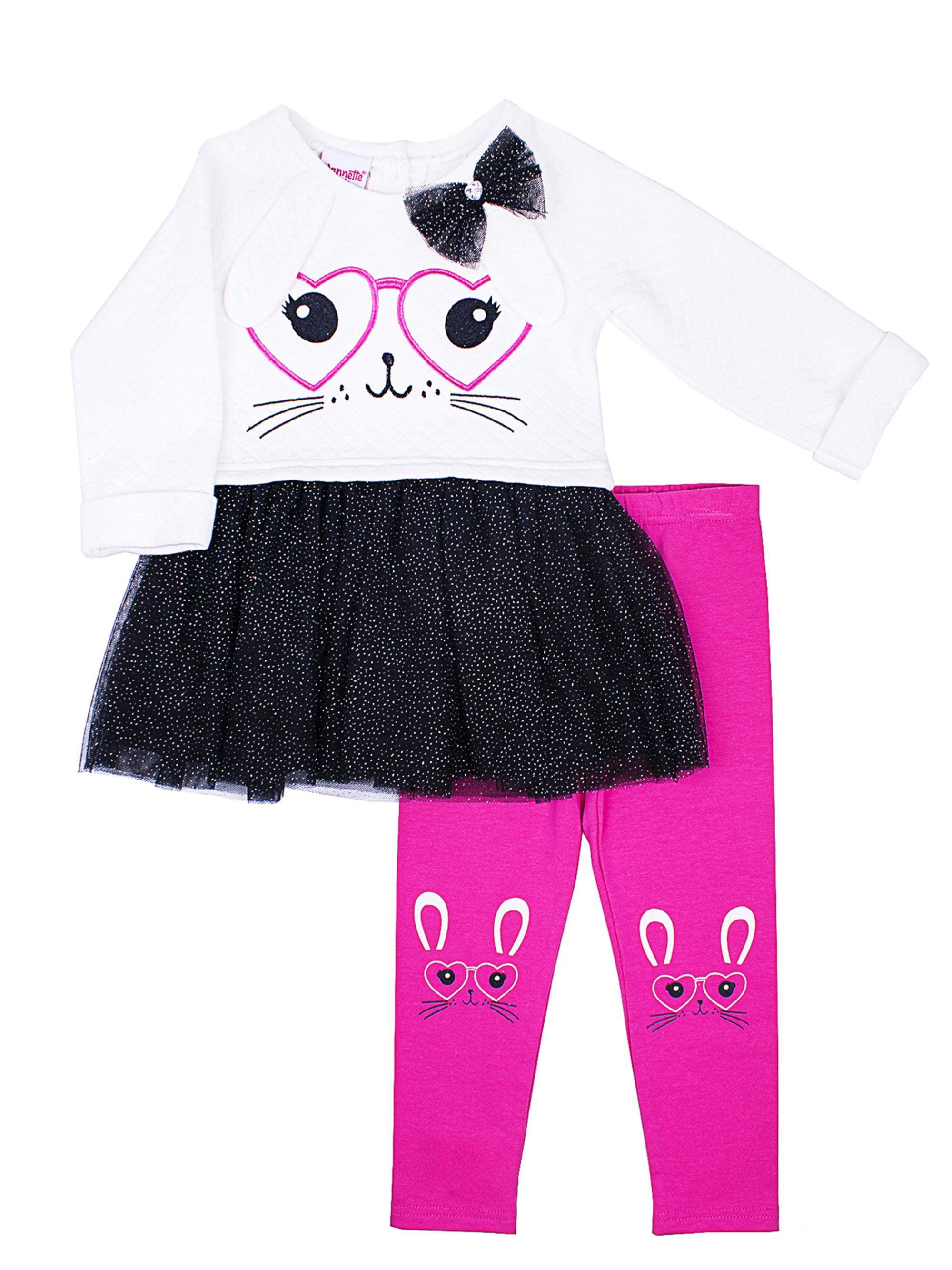 Nannette Rabbit Tulle Hem Tunic and Legging, 2-Piece Outfit Set (Little Girls)