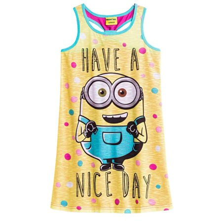 Despicable Me Girls Lightweight Yellow Minions Nightgown Nice Day Night - Girl Minion From Despicable Me