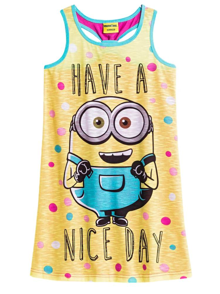 Despicable Me Girls Lightweight Yellow Minions Nightgown Nice Day Night Gown