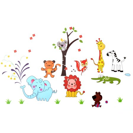 Nursery Home Animals Tree Print Adhesive Wall Sticker Decal Wallpaper 90x60cm](Halloween Themed Anime Wallpaper)