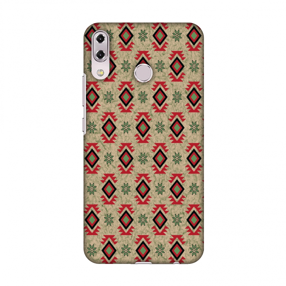 Asus Zenfone 5Z Case, Premium Slim Fit Handcrafted Printed Designer Hard Snap On Shell Case Back Cover for Asus Zenfone 5Z ZS620KL - Deep Red And Beige