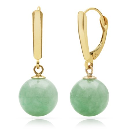 10mm Dyed Green Jade 14kt Yellow Gold Lever-back Earrings