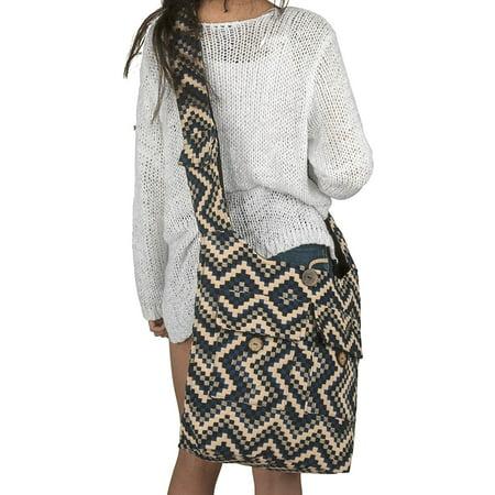 (Tribe Azure Oversize Large Woven Shoulder Bag Hobo Sling Slouch Crossbody Blue Grocery School Everyday Market Beach Spring Summer)