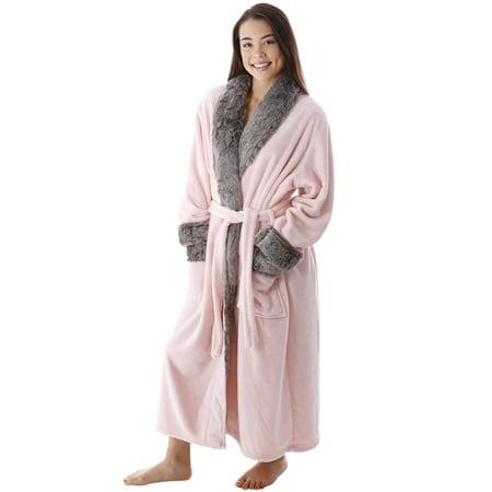 Simplicity - Luxury Faux Fur Trim Velvet Fleece Pocketed Bathrobe Robe 39c7ce156