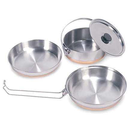 Stansport Stainless Steel Mess Kit - 1 Pan, 1 Saucepan, 1 Plate